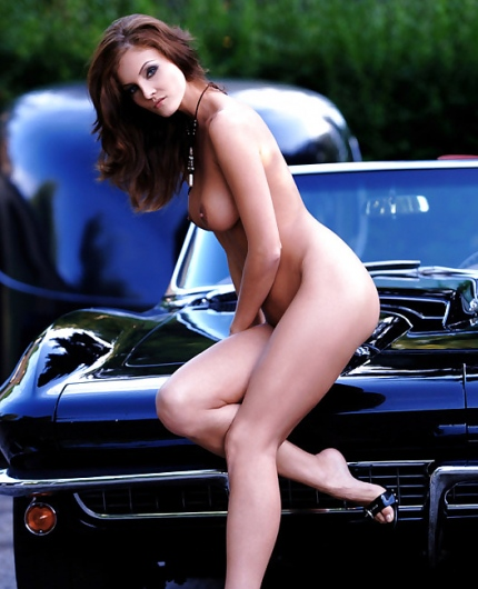 Ivette Blanche embracing her Corvette